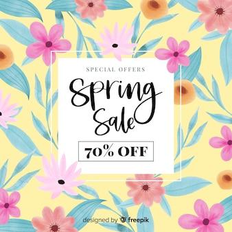 Aquarel bloemen lente verkoop achtergrond