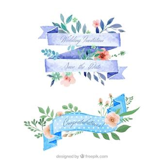 Aquarel bloemen linten voor bruiloft