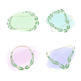 Aquarel bloemen logo decoraties collectie set