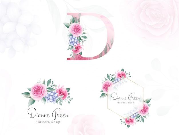 Aquarel bloemen logo set voor de eerste d van perzikrozen en bladeren.