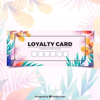 Aquarel bloemen loyaliteit kaartsjabloon