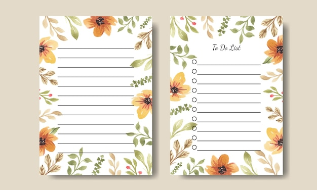 Aquarel bloemen notities en takenlijst afdrukbaar