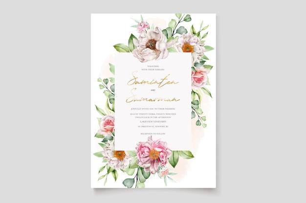 Aquarel bloemen pioenrozen en rozen bruiloft uitnodigingskaart