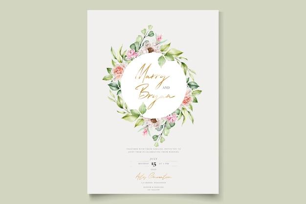 Aquarel bloemen pioenrozen en rozen uitnodigingskaart