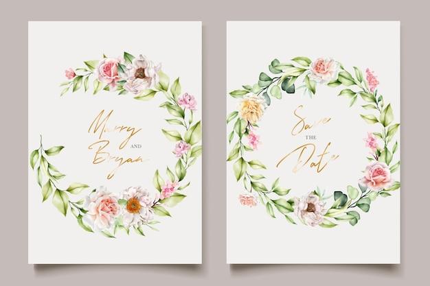 Aquarel bloemen pioenrozen en rozen uitnodigingskaartenset
