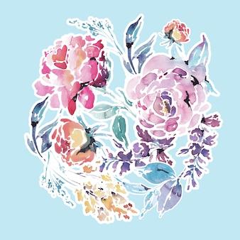 Aquarel bloemen rond frame van rode rozen