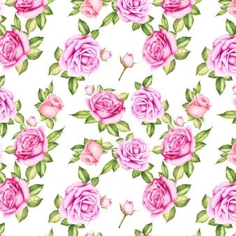 Aquarel bloemen roos naadloze patroon