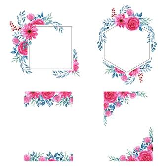 Aquarel bloemen roze frame achtergrond