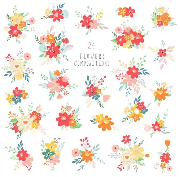 Aquarel bloemen set. kleurrijke roze en paarse bloemen collectie met bladeren en bloemen. samenstellingen van boeket.