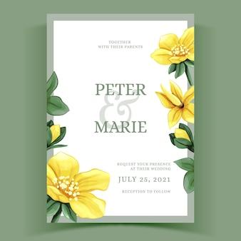 Aquarel bloemen sjabloon voor bruiloft uitnodiging