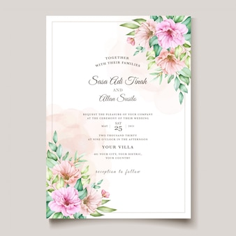 Aquarel bloemen uitnodigingskaart ontwerp
