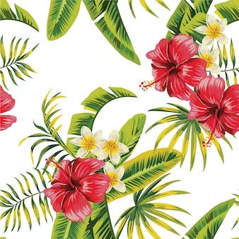 Aquarel bloemen verlaat naadloze patroon