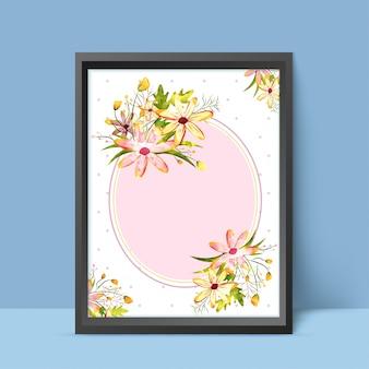 Aquarel bloemen versierd frame.