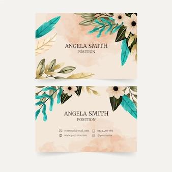 Aquarel bloemen visitekaartje
