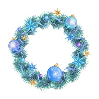 Aquarel bloemen vrolijke kerstkrans in winterstijl