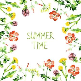 Aquarel bloemen wenskaart. vintage retro achtergrond met wilde bloemen. zomer vector achtergrond