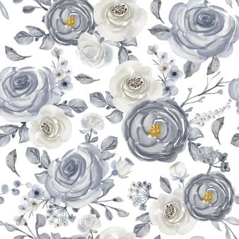 Aquarel bloemen wit en marine naadloze patroon