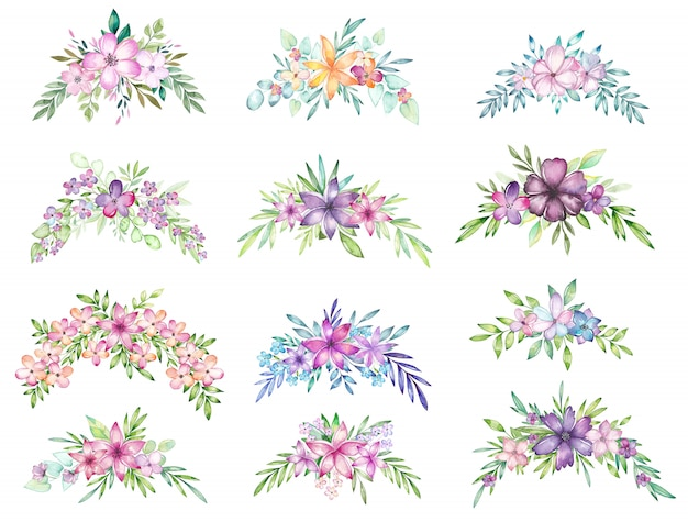 Aquarel bloemenboeket set