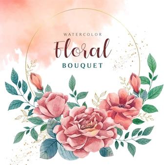 Aquarel bloemenboeket voor bruiloft uitnodiging