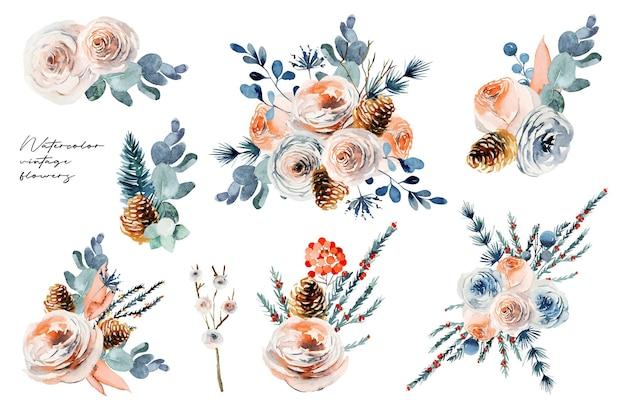 Aquarel bloemenboeketten set, vintage bloemsamenstellingen van witte en roze rozen, eucalyptus en dennentakken
