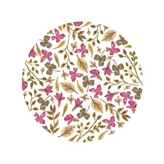 Aquarel bloemencirkel in een romantische stijl.
