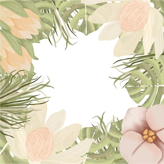 Aquarel bloemenframe in boho-stijl