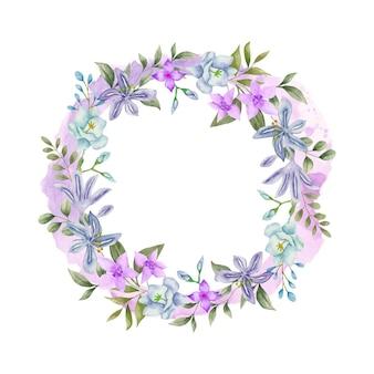 Aquarel bloemenframe met lentebloemen