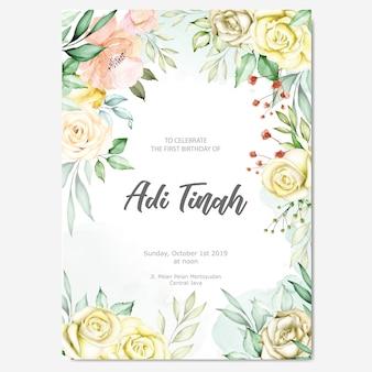 Aquarel bloemenframe multifunctionele achtergrond