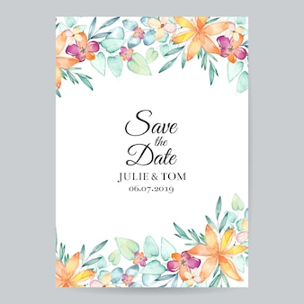 Aquarel bloemenhuwelijksuitnodiging