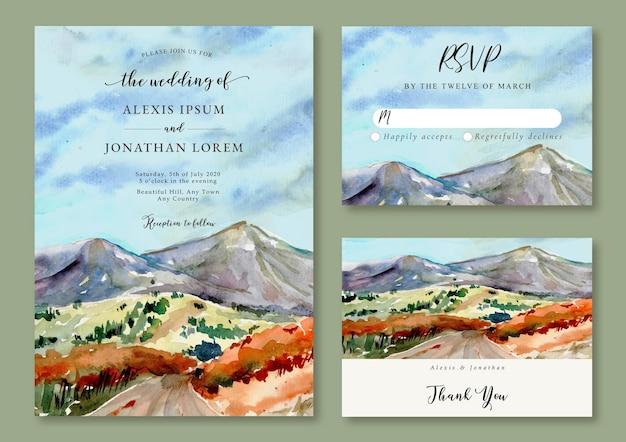 Aquarel bloemenlandschap uitnodiging sjabloon van uitzicht op de bergen en groene heuvel