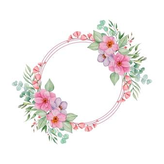 Aquarel bloemenlijst met bladeren