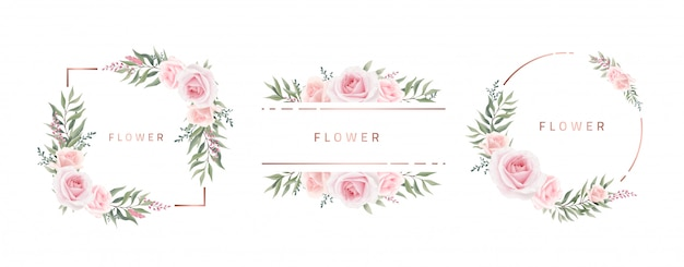Aquarel bloemenlijst rose eucalyptus. sjabloon bruiloft uitnodigingskaart. roze metalen frame.