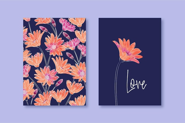 Aquarel bloemenplanner omslagontwerp blauw oranje