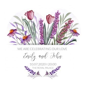 Aquarel bloemenrand. bruiloft uitnodigingskaart