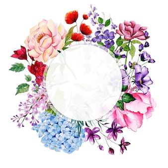 Aquarel bloemenrand
