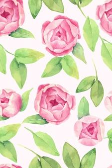 Aquarel bloemmotief met pioenroos bloemen