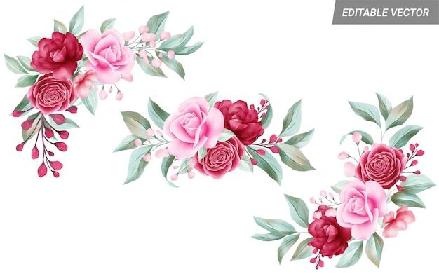 Aquarel bloemstukken illustraties voor bruiloft of wenskaartsamenstelling