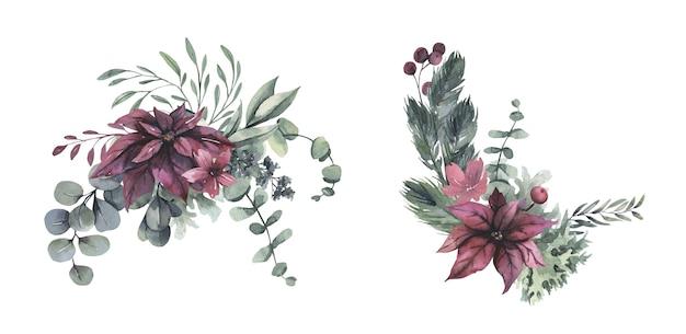 Aquarel boeket met rode kerst bloemen.