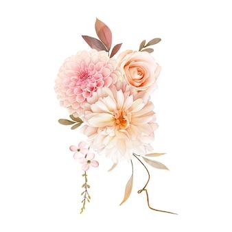 Aquarel boeket van roos en dahlia