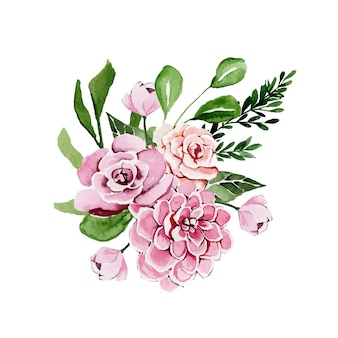 Aquarel boeket van roze bloemen voor een speciale gelegenheid