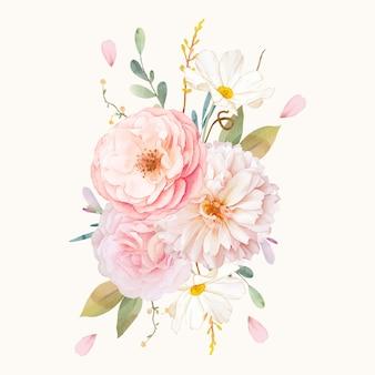 Aquarel boeket van roze rozen en dahlia