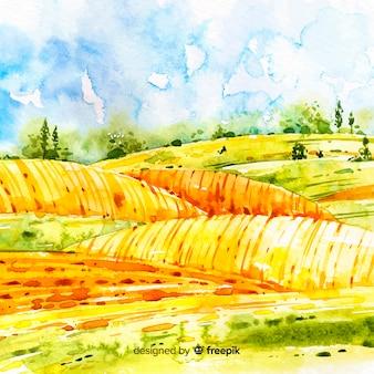Aquarel boerderij landschap-achtergrond
