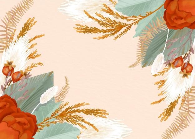 Aquarel boho achtergrond met bloemen