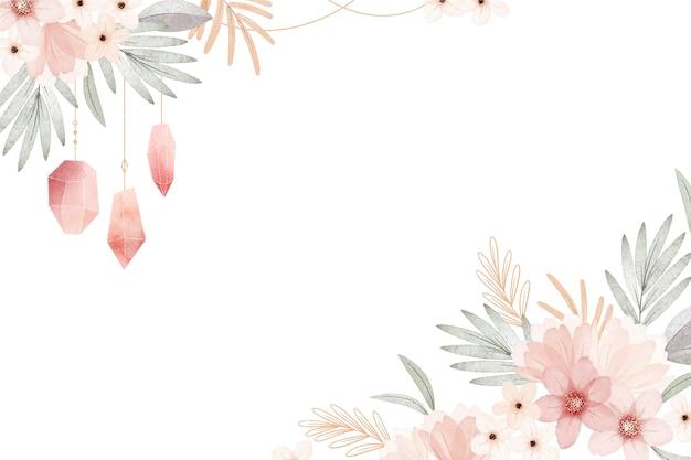 Aquarel boho bloemen achtergrond