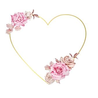 Aquarel boho bloemen krans valentijnsdag roze rozen en gouden geometrische frame in de vorm van een hart, voor huwelijksuitnodigingen, gefeliciteerd.