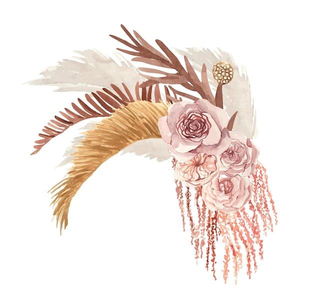Aquarel boho boeket met droge bloemen en bladeren