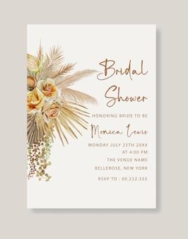 Aquarel boho bruids douche uitnodiging