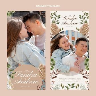 Aquarel boho bruiloft banners verticaal