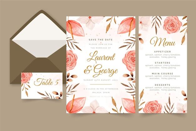 Aquarel boho bruiloft briefpapier collectie