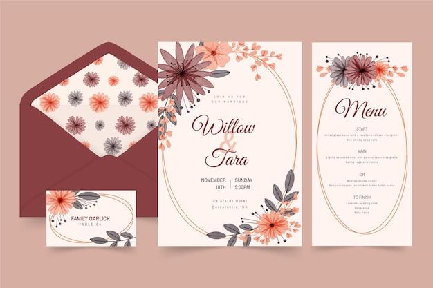 Aquarel boho bruiloft briefpapier set